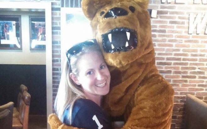 Meredith our event coordinator with the Penn State Bear