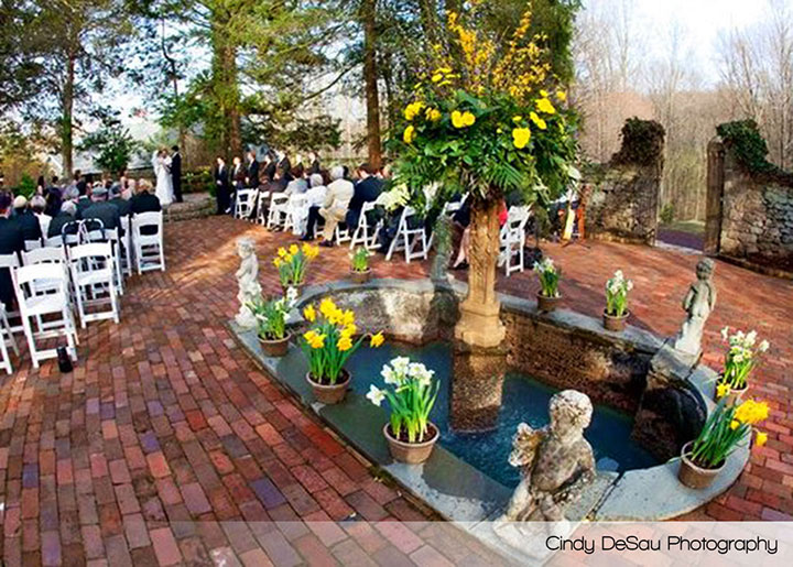 Holly Hedge Wedding Ceremony Stone Courtyard Fountain Brick