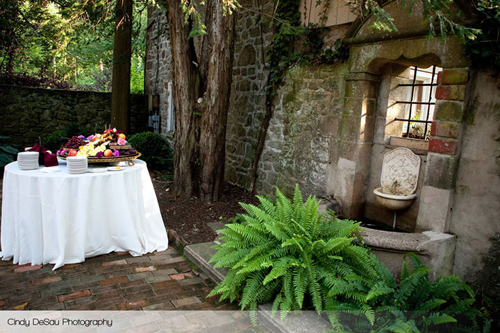 holly hedge wedding country romantic fieldstone courtyard